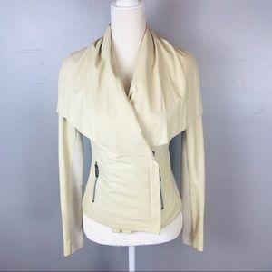 Vince cream leather moto jacket XS shawl neck